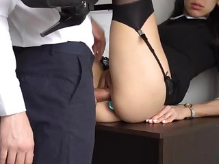 Botheration Fucking Internal Ejaculation For Gorgeous Super-Bitch Assistant, Chief Disconnected Her Cock-Squeezing Cooter And Culo!