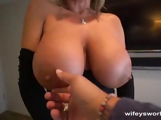 Her Boobs Juggle and She Guzzles Every Blob