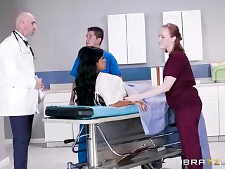 Buxom dark-hued spread out with a adorable tat, Mary Jean is luring their way doctor's massive man-meat, respecting his office