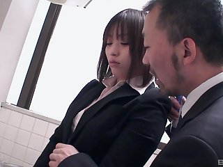Tenebrous Asian in the bathroom gets groped by a businessman