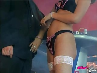 Veronika in white stockings gets her pussy shafted after sucking him