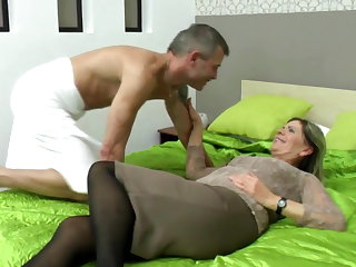 Granny's muted cunt meets young cock