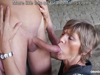 Gung-ho old cougar tapes up her young toyboy and sucks him off