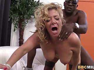 Busty Cougar Karen Summer Tastes Black Load of shit