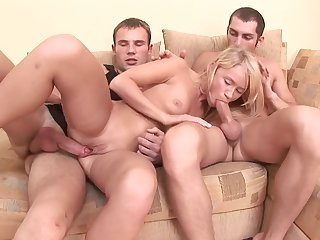 Girlfriend hard fucked hither both holes by the two lovers