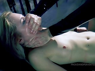 Gagged hottie gets punished by subhuman fucked in all holes then jizzed