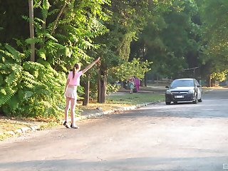 Teen in a miniskirt Vika Lita picked up and fucked in the forest