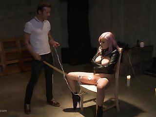 Teen punk slut strapped to a chair added to forced cock down her throat