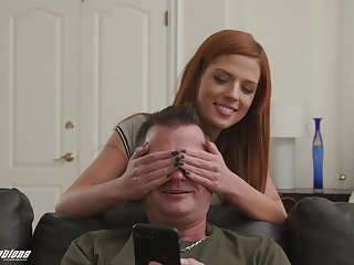 Redhead teen seductress Scarlett Mae seduces an elder statesman guy to eat cum