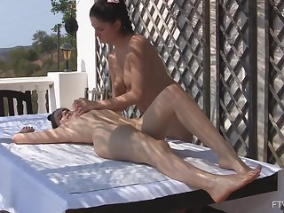 Lesbian massage leads girls to barmy in the crumpet masturbation