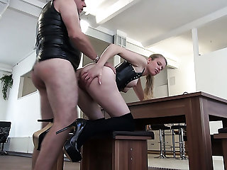 Rapacious gilded haired bitch in latex stuff Xiona factory on dude's cock