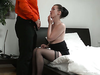 Masturbating bosomy Alessia gets caught by lady's man and fucked by him