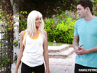 Adorable increased by slutty blonde bimbo meets a young man increased by fucks him during exercise