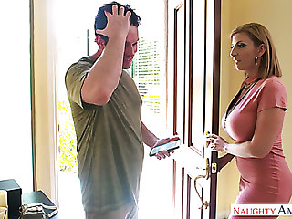 Mega busty mommy Sara Jay gives a titjob and bangs one young dude