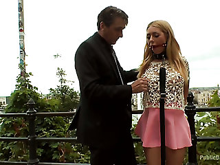 Wicked and hot blondie used for misapplied gangbang in a public place