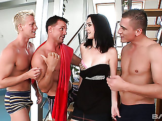 Sexy looking brunette mollycoddle Melissa lures three strong studs for MMMF
