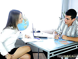 Nice looking Gina C lures her student for unforgettable sex