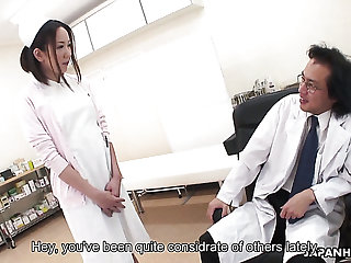 Hairy pussy of lusty Japanese nurse gets aptly fucked mish by doctor