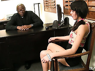Gamine naughty damsel Binky Bangs lures black priest up outing his big BBC